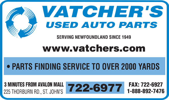 Vatcher's Used Auto Parts (709-722-6977) - Display Ad - SERVING NEWFOUNDLAND SINCE 1949 www.vatchers.com PARTS FINDING SERVICE TO OVER 2000 YARDS 3 MINUTES FROM AVALON MALL FAX: 722-6927 722-6977 1-888-892-7476 225 THORBURN RD., ST. JOHN S