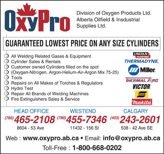 Oxygen Products Ltd (780-465-2108) - Annonce illustrée======= -