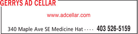 Gerry's Ad Cellar Inc (403-526-5159) - Display Ad - www.adcellar.com