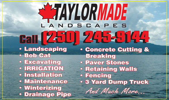 Taylor Made Landscaping Ltd (250-245-9144) - Annonce illustrée======= -