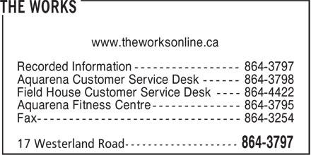 The Works (709-864-3797) - Annonce illustrée======= - www.theworksonline.ca