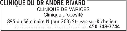 Clinique du Dr André Rivard (450-348-7744) - Annonce illustrée======= - CLINIQUE DE VARICES Clinique d'obésité