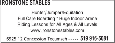 Ironstone Stables (519-916-5081) - Annonce illustrée======= - Hunter/Jumper/Equitation Full Care Boarding * Huge Indoor Arena Riding Lessons for All Ages & All Levels www.ironstonestables.com