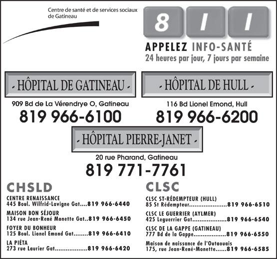 Centre de Santé et de Services Sociaux de Gatineau (819-966-6100) - Annonce illustrée======= - APPELEZ INFO-SANTÉ 24 heures par jour, 7 jours par semaine - HÔPITAL DE HULL - - HÔPITAL DE GATINEAU - 909 Bd de La Vérendrye O, Gatineau 116 Bd Lionel Emond, Hull 819 966-6100 819 966-6200 - HÔPITAL PIERRE-JANET - 20 rue Pharand, Gatineau 819 771-7761 CLSC CHSLD CENTRE RENAISSANCE CLSC ST-RÉDEMPTEUR (HULL) 445 Boul. Wilfrid-Lavigne Gat.... 819 966-6440 85 St Rédempteur..................... 819 966-6510 MAISON BON SÉJOUR CLSC LE GUERRIER (AYLMER) 134 rue Jean-René Monette Gat.. 819 966-6450 425 Leguerrier Gat................... 819 966-6540 FOYER DU BONHEUR CLSC DE LA GAPPE (GATINEAU) 125 Boul. Lionel Emond Gat........ 819 966-6410 777 Bd de la Gappe.................. 819 966-6550 LA PIÉTA Maison de naissance de l'Outaouais 273 rue Laurier Gat.................. 819 966-6420 175, rue Jean-René-Monette...... 819 966-6585