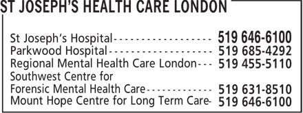 St Joseph's Health Care London (519-646-6100) - Annonce illustrée======= -