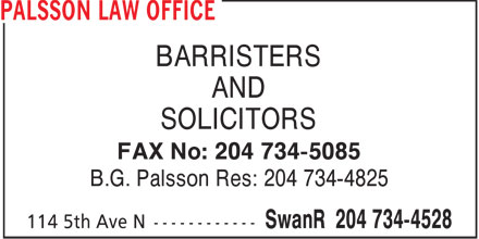 Oakes Law Office (204-734-4528) - Display Ad - BARRISTERS AND SOLICITORS FAX No: 204 734-5085 B.G. Palsson Res: 204 734-4825