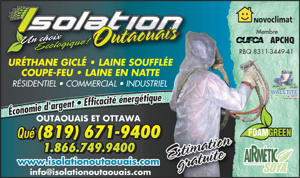Isolation outaouais inc 245 av de buckingham gatineau qc for Insonorisation mur exterieur