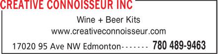 Creative Connoisseur Inc (780-489-9463) - Display Ad - Wine + Beer Kits www.creativeconnoisseur.com Wine + Beer Kits www.creativeconnoisseur.com