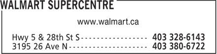 Walmart Supercentre (403-328-6143) - Annonce illustrée======= - www.walmart.ca