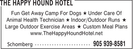 The Happy Hound Hotel (905-939-8581) - Display Ad -