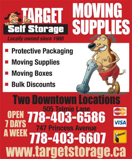 Target Storage Ltd (250-381-4747) - Annonce illustrée======= - 778-403-658603-6586 778-403-6607 778-403-658603-6586 778-403-6607