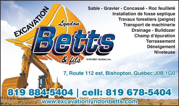 Excavation Lyndon Betts (819-884-5404) - Display Ad -