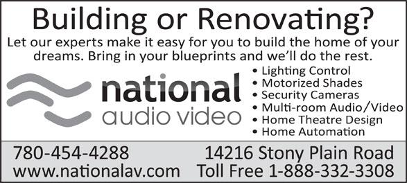 National Audio Video (780-454-4288) - Annonce illustrée======= -
