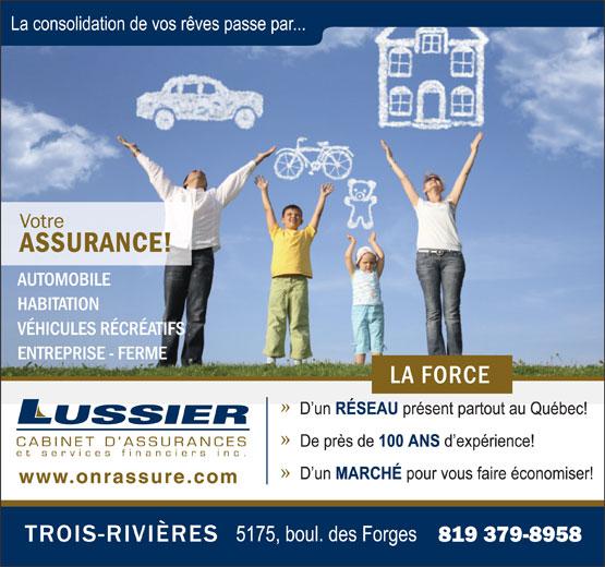 Lussier Cabinet d'assurances et services financiers (819-379-8958) - Annonce illustrée======= -
