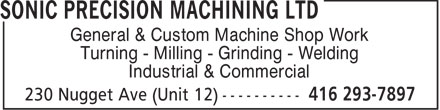 Ads Sonic Precision Machining