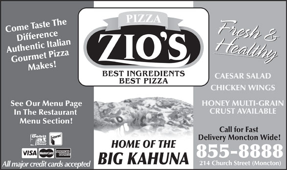 Zio's Pizzeria (506-855-8888) - Display Ad -