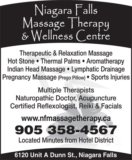 Niagara Falls Massage Therapy & Wellness Centre (905-358-4567) - Annonce illustrée======= -