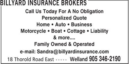 Billyard Insurance Brokers (905-346-2190) - Display Ad -