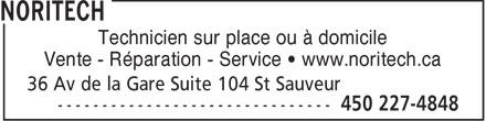 Noritech (450-227-4848) - Display Ad - Technicien sur place ou à domicile Vente - Réparation - Service • www.noritech.ca