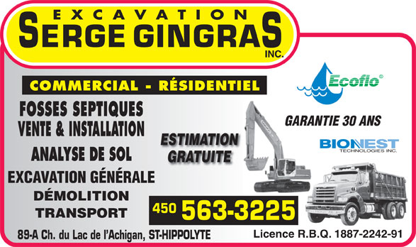 Excavation Gingras Serge Inc (450-563-3225) - Annonce illustrée======= -