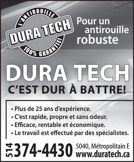 Centre Professionel D'Antirouille Dura Tech (514-374-4430) - Display Ad -