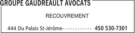 Deveau Bourgeois Gagné Hébert Et Associés S ENCRL (450-530-7301) - Annonce illustrée======= - RECOUVREMENT