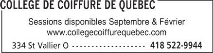 Collège de Coiffure de Québec (418-522-9944) - Annonce illustrée======= -