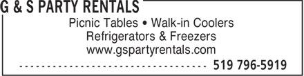 G & S Party Rentals (519-796-5919) - Annonce illustrée======= - Picnic Tables   Walk-in Coolers Refrigerators & Freezers www.gspartyrentals.com