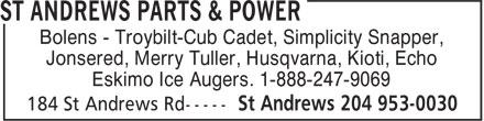 St Andrews Parts & Power (1-888-247-9069) - Annonce illustrée======= - Bolens - Troybilt-Cub Cadet, Simplicity Snapper, Jonsered, Merry Tuller, Husqvarna, Kioti, Echo Eskimo Ice Augers. 1-888-247-9069