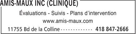 Clinique Amis-Maux Inc (418-847-2666) - Annonce illustrée======= - Évaluations - Suivis - Plans d'intervention www.amis-maux.com