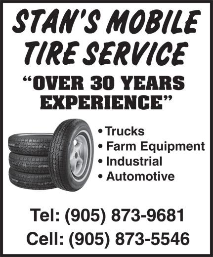 Stan's Mobile Tire Services (905-873-9681) - Annonce illustrée======= -