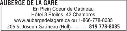 Auberge de la Gare (1-866-778-8085) - Annonce illustrée======= - En Plein Coeur de Gatineau Hôtel 3 Étoiles, 42 Chambres www.aubergedelagare.ca ou 1-866-778-8085