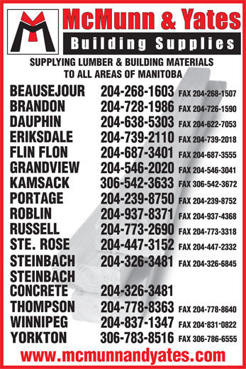 McMunn & Yates Building Supplies Ltd (204-326-3481) - Annonce illustrée======= - SUPPLYING LUMBER & BUILDING MATERIALS TO ALL AREAS OF MANITOBA www.mcmunnandyates.com