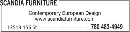 Scandia Furniture (780-483-4949) - Display Ad - Contemporary European Design www.scandiafurniture.com