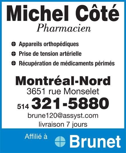 Côté Michel (514-321-5880) - Annonce illustrée======= -