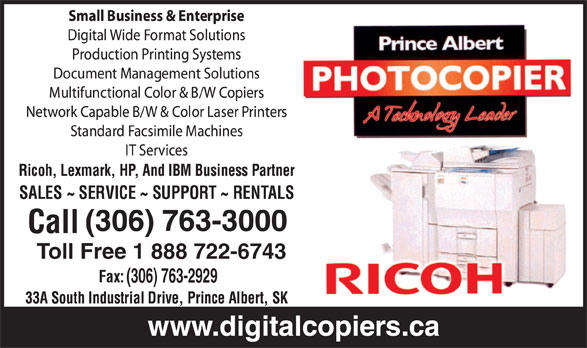 Prince Albert Photocopier Inc (306-763-3000) - Annonce illustrée======= - (306) 763-3000 Toll Free 1 888 722-6743 (306) 763-2929 (306) 763-3000 Toll Free 1 888 722-6743 (306) 763-2929