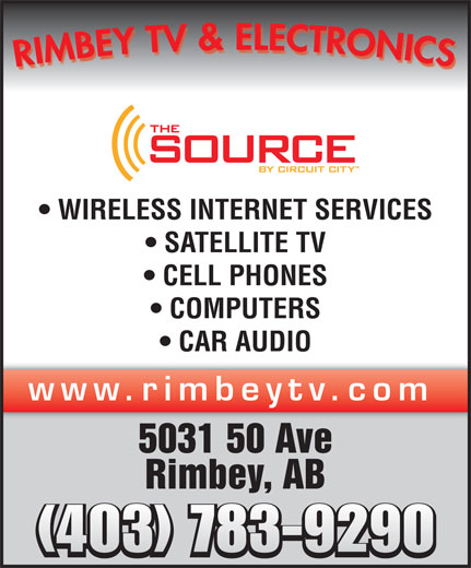 Rimbey TV & Electronics (1998) (403-843-2460) - Display Ad - WIRELESS INTERNET SERVICES SATELLITE TV CELL PHONES COMPUTERS CAR AUDIO www.rimbeytv.com 5031 50 Ave Rimbey, AB (403) 783-9290
