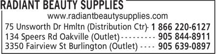 Radiant Beauty Supplies (1-866-220-6127) - Annonce illustrée======= - www.radiantbeautysupplies.com