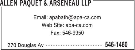Allen Paquet & Arseneau LLP (506-546-1460) - Annonce illustrée======= - Web Site: apa-ca.com Fax: 546-9950