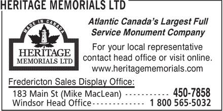 Heritage Memorials Ltd (506-450-7858) - Annonce illustrée======= -