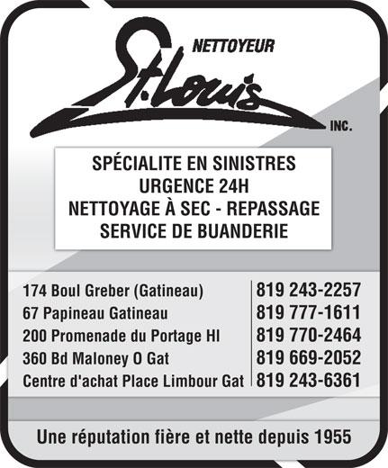 Nettoyeur St Louis (819-777-1611) - Annonce illustrée======= -
