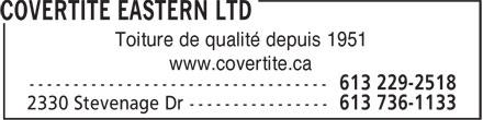 Covertite Eastern Ltd (613-736-1133) - Annonce illustrée======= - Toiture de qualité depuis 1951 www.covertite.ca