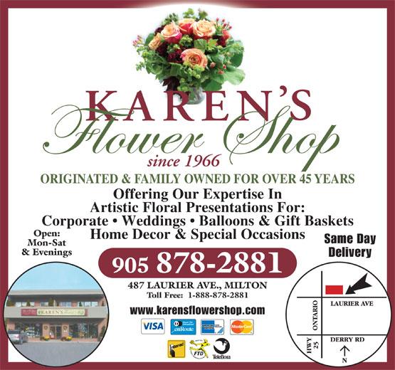 Karen's Flower Shop (905-878-2881) - Annonce illustrée======= -