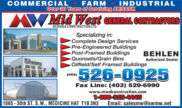 Mid-West Design & Construction Ltd (403-526-0925) - Annonce illustrée======= - Over 30 Years of Servicing AB/SASK www.mwdconstruction.com