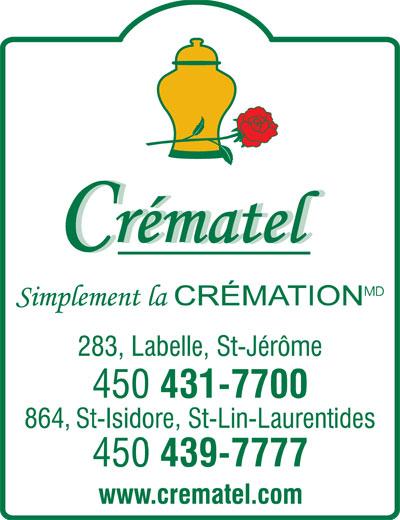 Crématel Inc (450-431-7700) - Annonce illustrée======= -