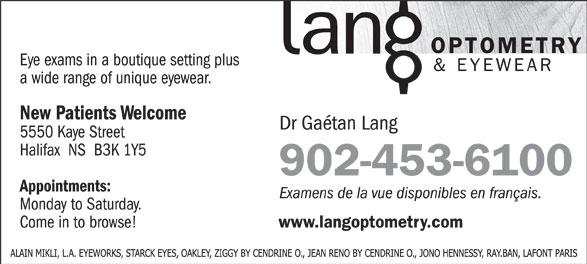 Lang Optometry & Eyewear (902-453-6100) - Annonce illustrée======= - 902-453-6100