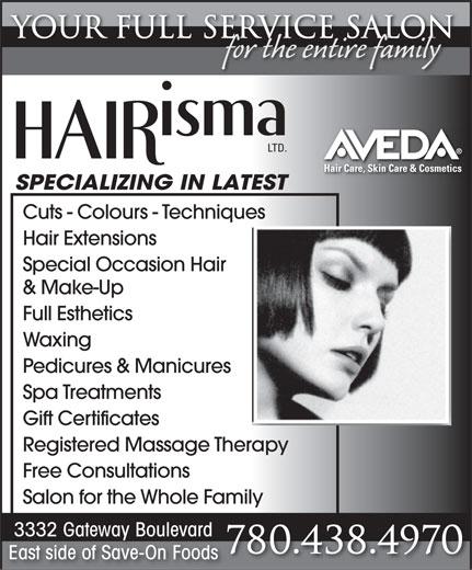 Hairisma Ltd (780-438-4970) - Annonce illustrée======= -