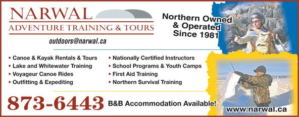 NARWAL Adventure Training & Tours (867-873-6443) - Display Ad -
