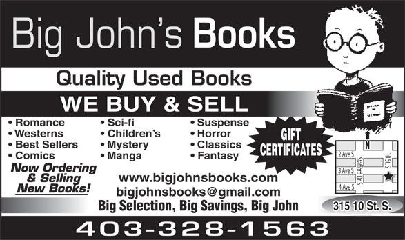 Big John's Books (403-328-1563) - Annonce illustrée======= -