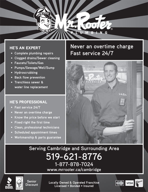 Mr Rooter Plumbing Of Cambridge (519-621-8776) - Display Ad -